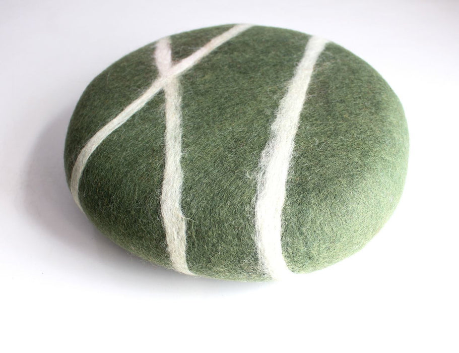 Small Round Green Stripe Felt Round Cushion - nepacrafts
