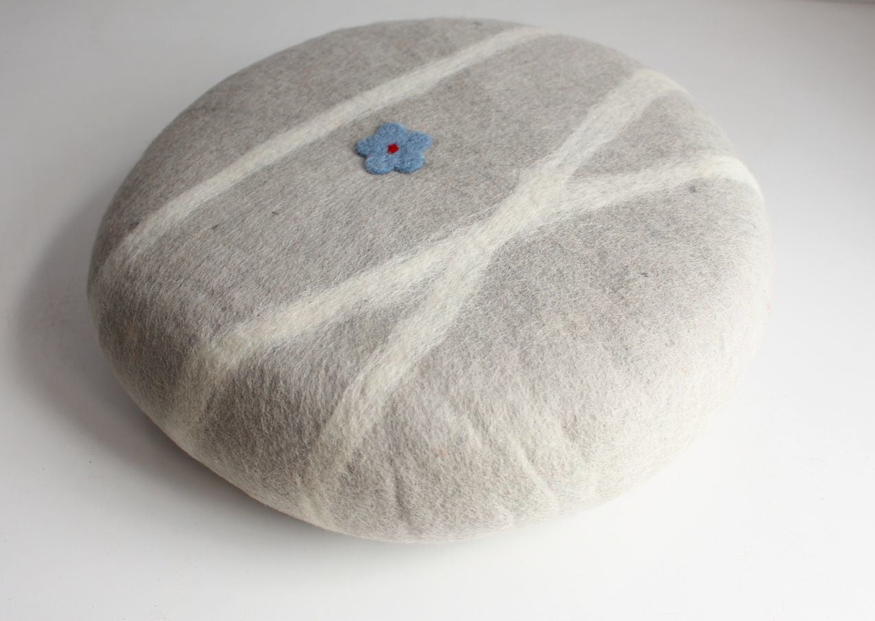 Natural Gray Designer Large Felt Round Pillow - nepacrafts