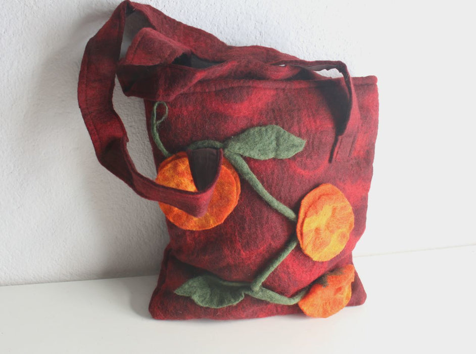 Maroon Felt Tote Bag with Orange Flower - nepacrafts