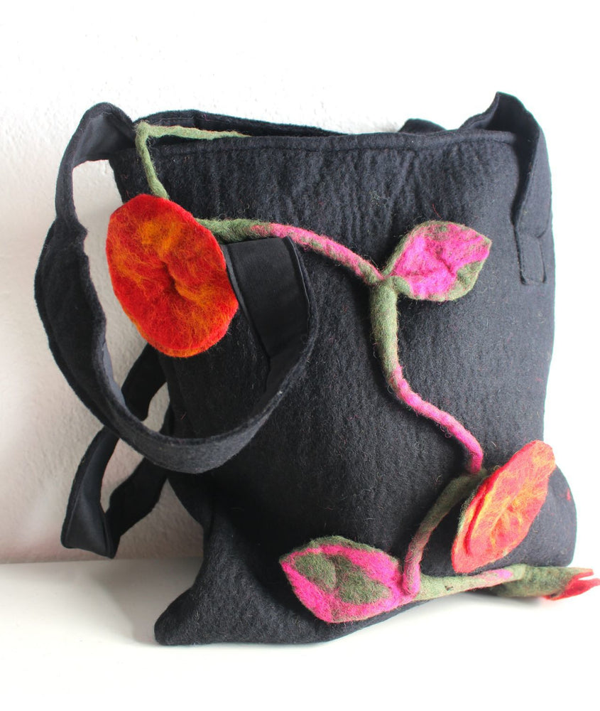 Black Felt Flower Tote Bag - nepacrafts