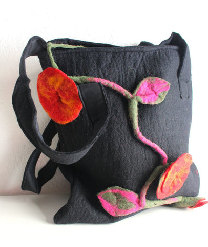 Black Felt Flower Tote Bag