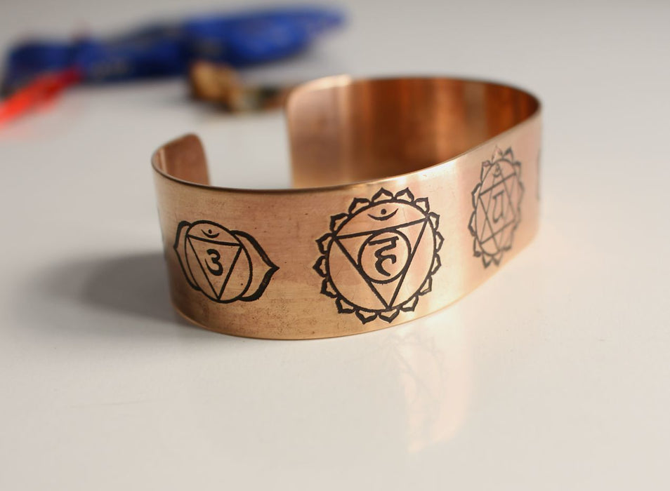 Seven Chakra Carved Healing Copper Cuff Bangle - nepacrafts