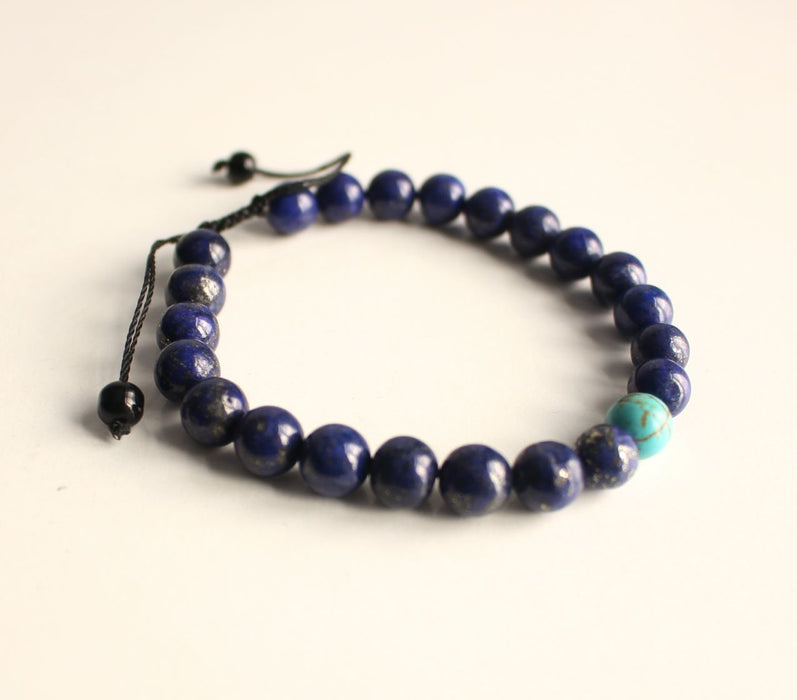 Lapis Lazuli Energy Bracelet with Turquoise Spacer - nepacrafts