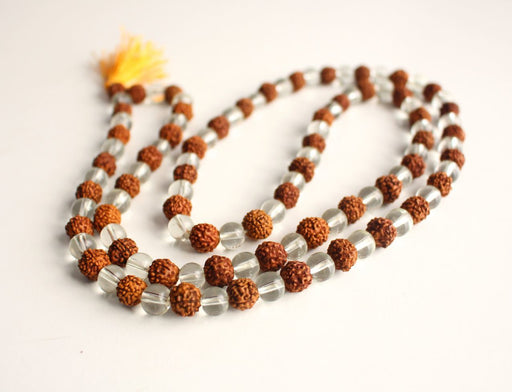 Rudraksha and Crystal 108 Prayer Mala - nepacrafts