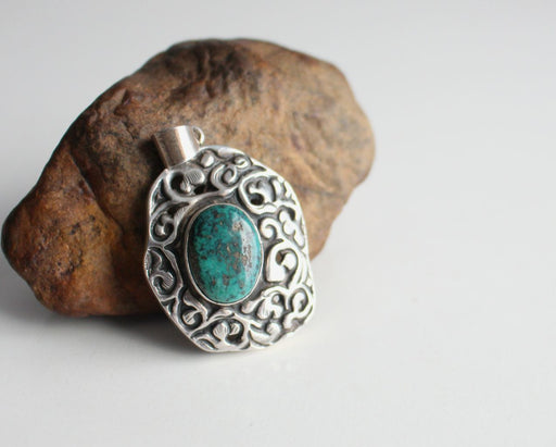 Tibetan Silver Pendant with Turquoise - nepacrafts