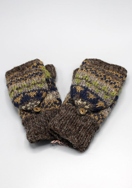 Olive Green Multicolor Soft Wool Convertible Children Mittens/Texting gloves