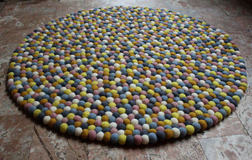 90 cm Felt Pom Pom Area Rugs, Round Felt Area Ball Rugs and Carpets - nepacrafts