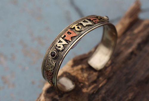 Tibetan Om Mani Adjustable White Metal Dargon Carved Bangles with Faux Stones (Garnet Stone BR58) - nepacrafts