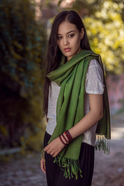 Silky Water Pashmina Shawl Dark Green - nepacrafts