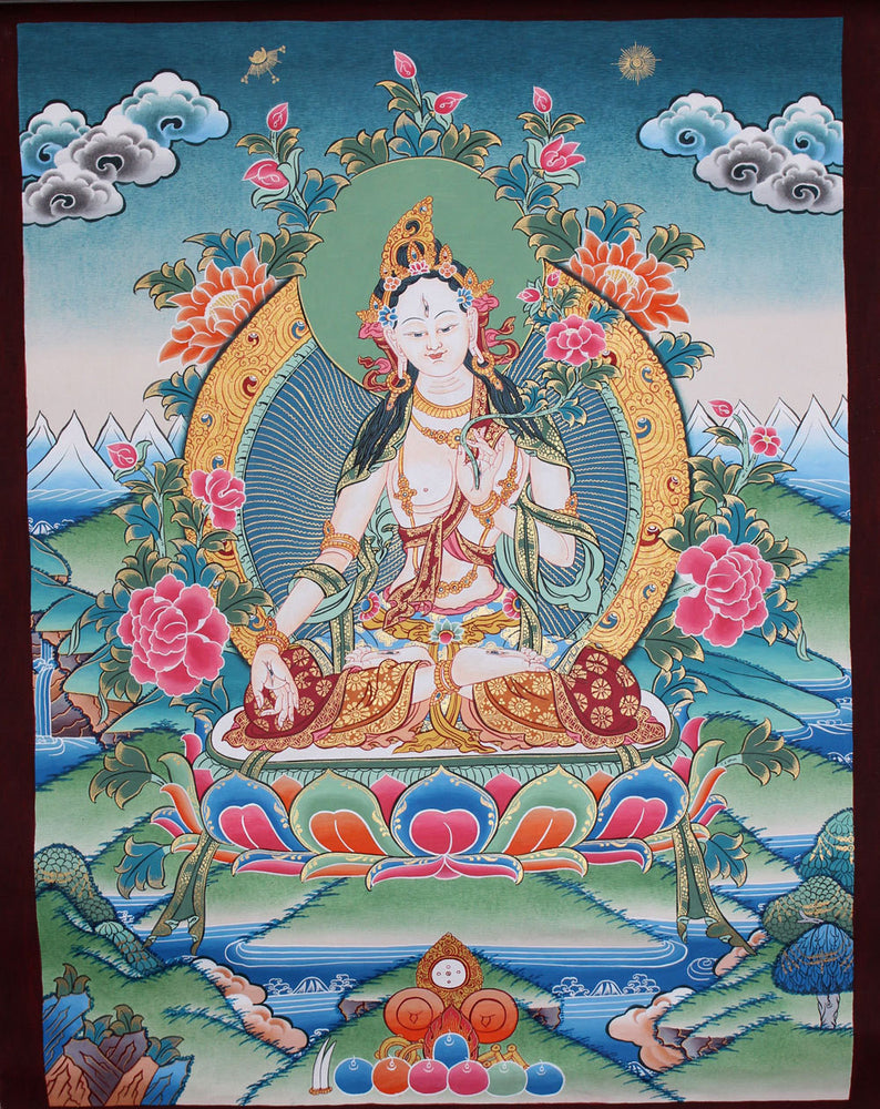 Handpainted thangka of White Tara 56x43cm - nepacrafts