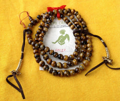Tiger's Eye Prayer Mala with Counter - NepaCrafts