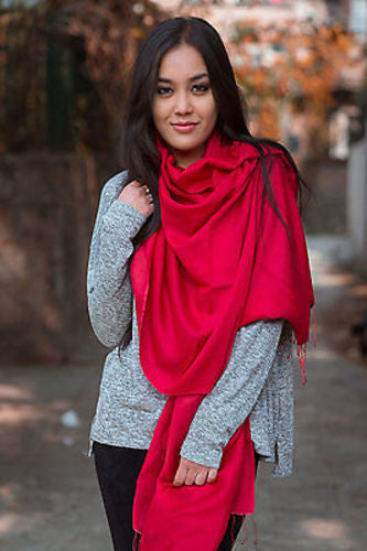 Spring Silk Pashmina Shawl-Red - nepacrafts
