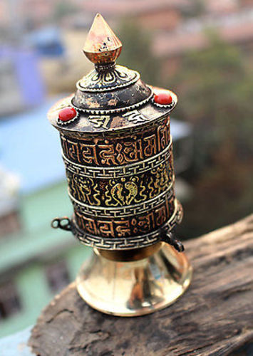 3 Line Om Mani Astamangal Tibetan Prayer Wheel - nepacrafts