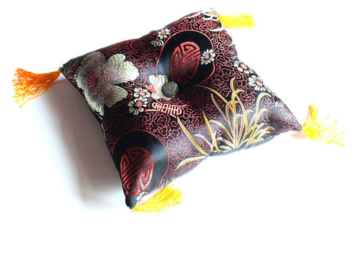 Gold Flower Singing Bowls Cushion - nepacrafts