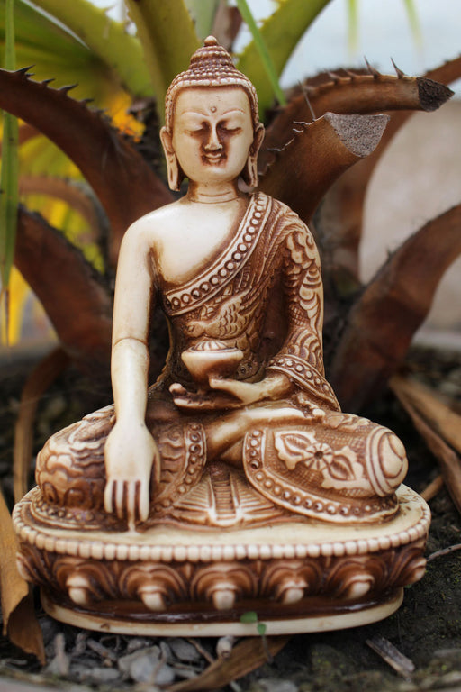 Dragon Carved Resin Shakyamuni Buddha Statue - nepacrafts