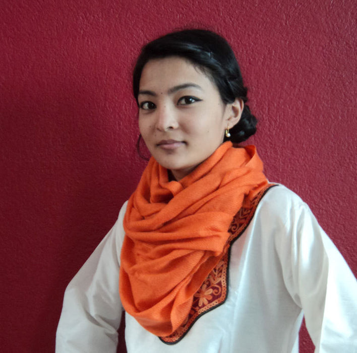 Pure Pashmina Shawl Orange - nepacrafts