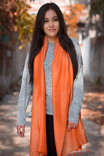 Spring Silk Pashmina Shawl-Orange - nepacrafts