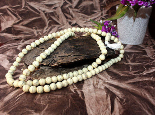Off White Resin 108 Beads Buddhist  Meditation Mala Necklace - nepacrafts
