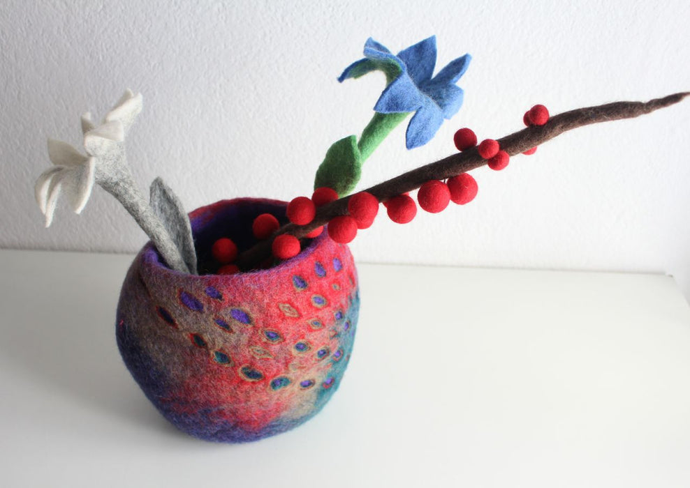 Felt Flower Vase with Flowers - nepacrafts