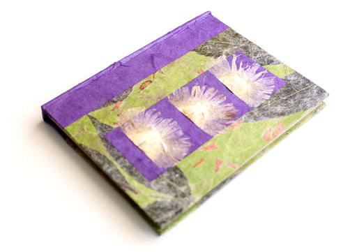 Purple and Green Floral Printed Lokta Paper Journal Book - nepacrafts