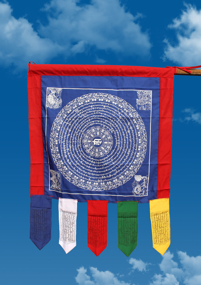 Blue Color Namgyalma Powerful Mantra Printed Cotton Prayer Flags
