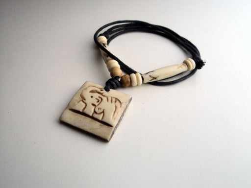 Elephant Carved Bone Pendant Necklace - nepacrafts
