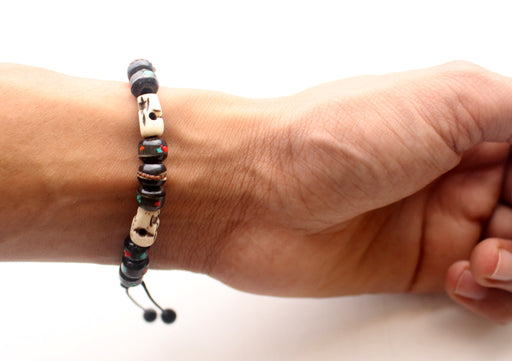 Adjustable Bone Inlaid Wrist Mala with Skull Counter - nepacrafts