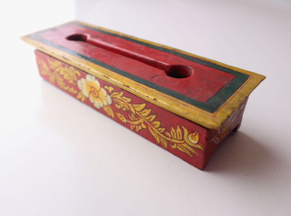 Handpainted Flower and Kalash Mini Wooden Incense Burner Box - nepacrafts
