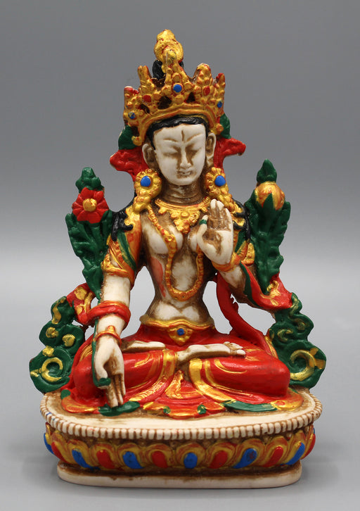"White Tara Statue 5.8"" Handpainted Resin Nepal - nepacrafts"