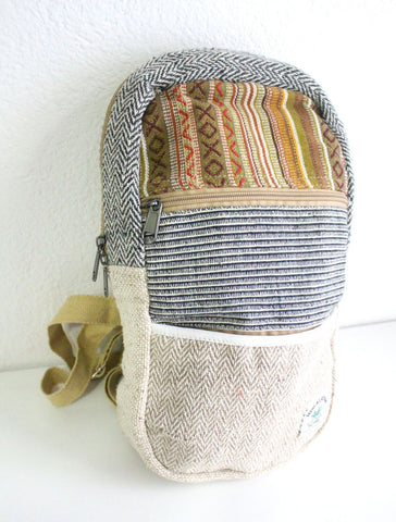 Medium Sized Cotton Blended Hemp BackPack