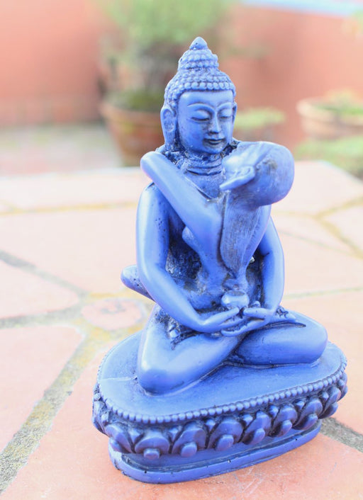 Blue Buddha Shakti Yab Yum Resin Statue 5 inch High - nepacrafts