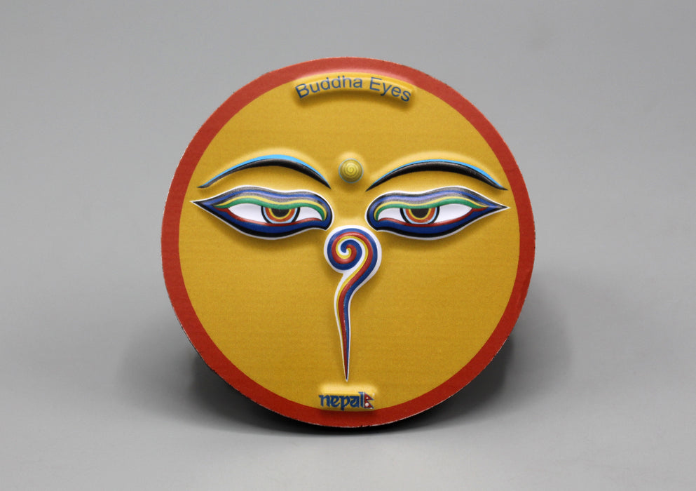 Buddha Eyes Nepal Round Embossed Fridge Magnet - nepacrafts