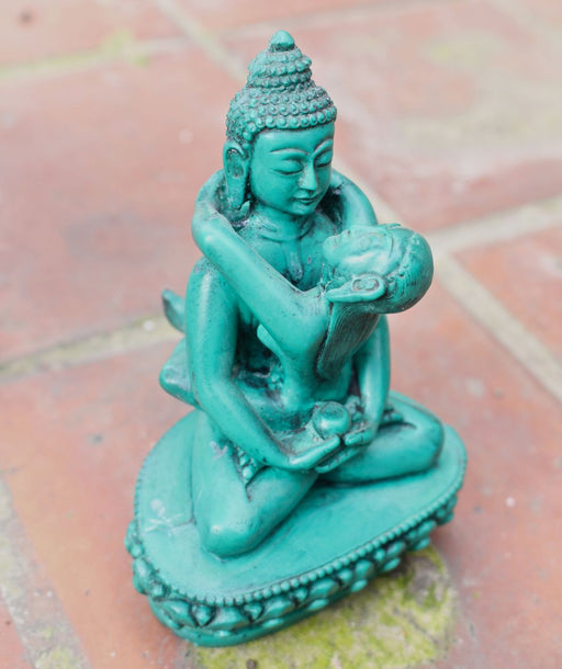 Green Buddha Shakti Yab Yum Resin Statue 5 inch High - nepacrafts