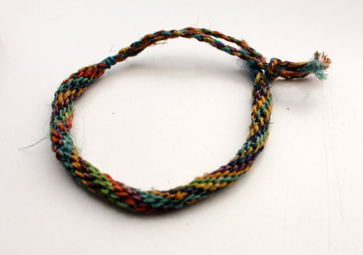 Multicolor Thick Hemp Braided Unisex Wrist Bracelet - nepacrafts