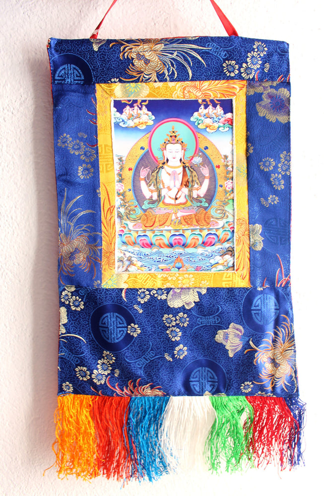 Om Mani Chenrezig Photo Thangka Silk Brocade Wall Hanging