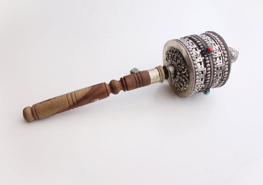 Handheld Prayer Wheel Carved with Ranjana Script(Lantsa) from Nepal - nepacrafts