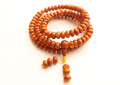 Faux Amber Flat Beads Meditation Mala, Prayer Yoga Mala - NepaCrafts