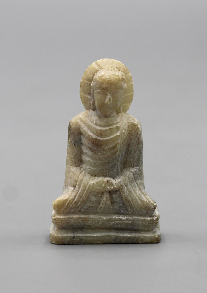 "Meditating Buddha Statue carved on a marble 1.6"" High - nepacrafts"
