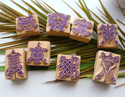 Set of Eight Auspicious Symbols Wooden Stamps - nepacrafts