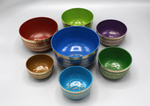 Seven Chakras Seven Colors Healing Singing Bowls - nepacrafts