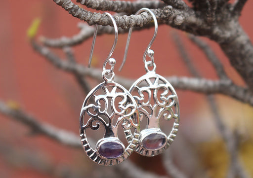 Amethyst Inlaid Tree of Life Sterling Silver Dangle Earrings - nepacrafts