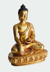 "Fully Gold Plated Majestic Shakyamuni Buddha Statue- Gold plated copper statue of Buddha 8""High-BST381 - NepaCrafts"