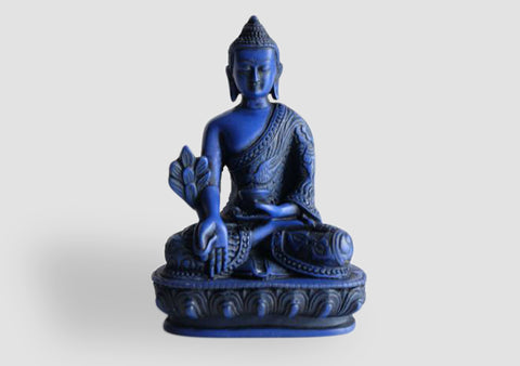 Dragon Carved Blue Color Resin Medicine Buddha Statue 5""