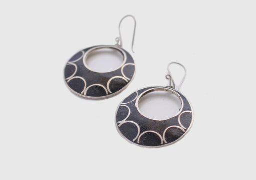Round Moon White Metal Earrings - nepacrafts