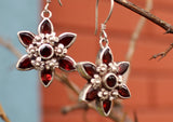 Flower Carving Glossy Garnet Silver Sterling Earrings - NepaCrafts