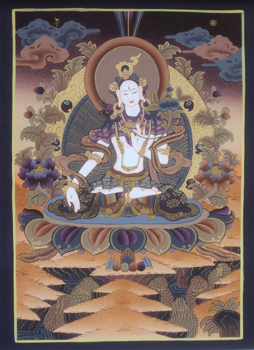2.10 Tibetan Female Boddhisattva Goddess White Tara Thangka Painting