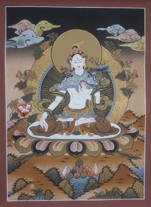2.13 Buddhist Goddess White Tara Thangka Painting Art