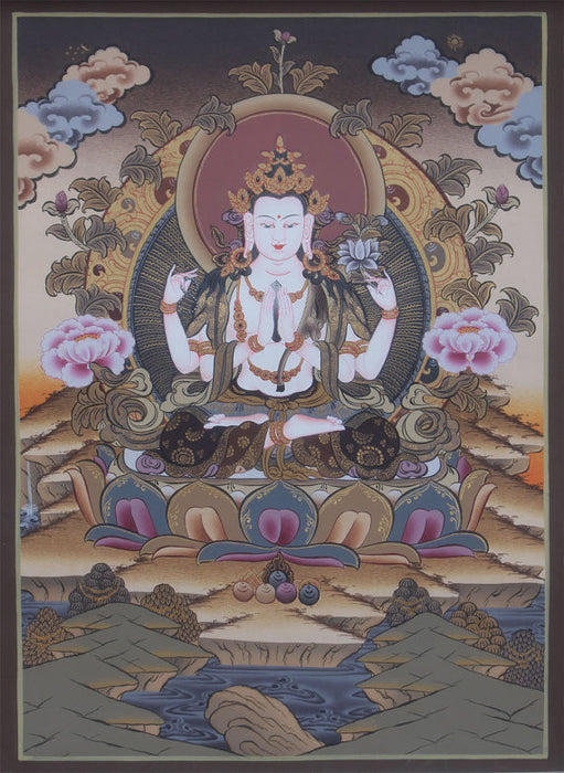 God of Compassion Chenrezig Thangka 40x30cm - nepacrafts