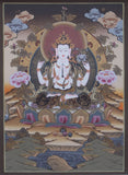 God of Compassion Chenrezig Thangka 40x30cm
