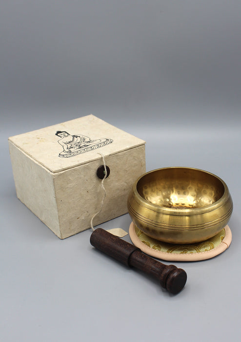 Pancha Buddha Embossed Tibetan Singing Bowl Gift Set - nepacrafts